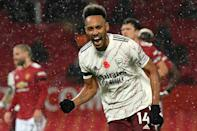 Arsenal's Pierre-Emerick Aubameyang celebrates after scoring against Manchester United