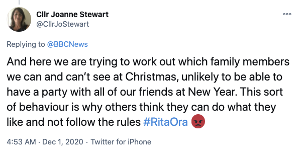 Many slammed the singer, saying they will be unlikely to spend Christmas and New Years with their friends and family. Photo: Twitter