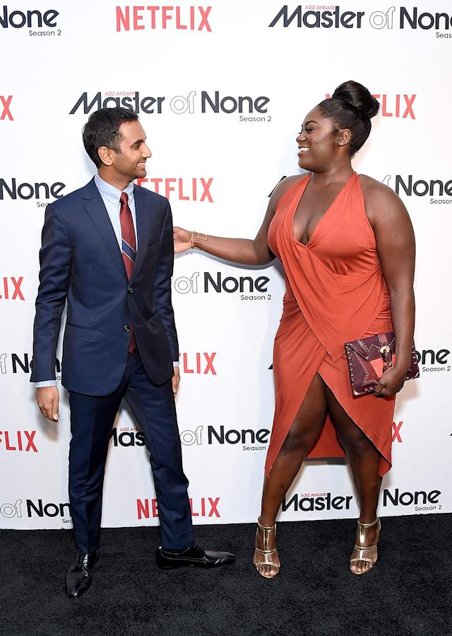 <p>The <i>Master of None</i> creator and star and his guest star were happy to see each other at a screening of Ansari's new season in NYC. (Photo: Michael Loccisano/Getty Images for Netflix) </p>