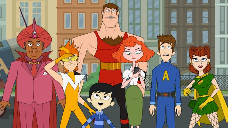 """This publicity image released by Hulu shows characters from the animated series """"The Awesomes,"""" from left, Impresario, voiced by Kenan Thompson, Frantic, voiced by Taran Killam, Tim, a.k.a. Sumo, voiced by Bobby Lee, foreground, Muscleman, voiced by Ike Barinholtz, Concierge, voiced by Emily Spivey, Prock, voiced by Seth Meyers and Gadget Gal, voiced by Paula Pell, The animated series premieres Aug. 1, on Hulu. (AP Photo/Hulu)"""
