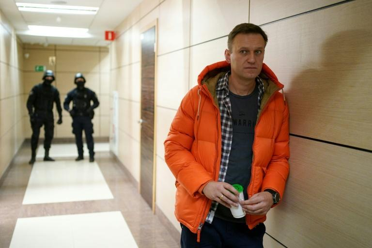 Navalny seen in a Moscow business centre which houses the office of his Anti-Corruption Foundation (FBK)