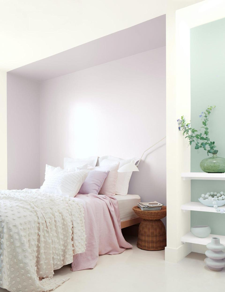 sage green and lavender paint in bedroom