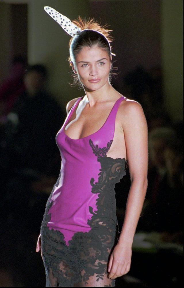 Danish supermodel Helena Christensen in a black lace and purple leather dress as part of Versace's 1996 Spring/Summer haute couture fashion collection in Paris. (Photo: AP/Remy de la Mauviniere)