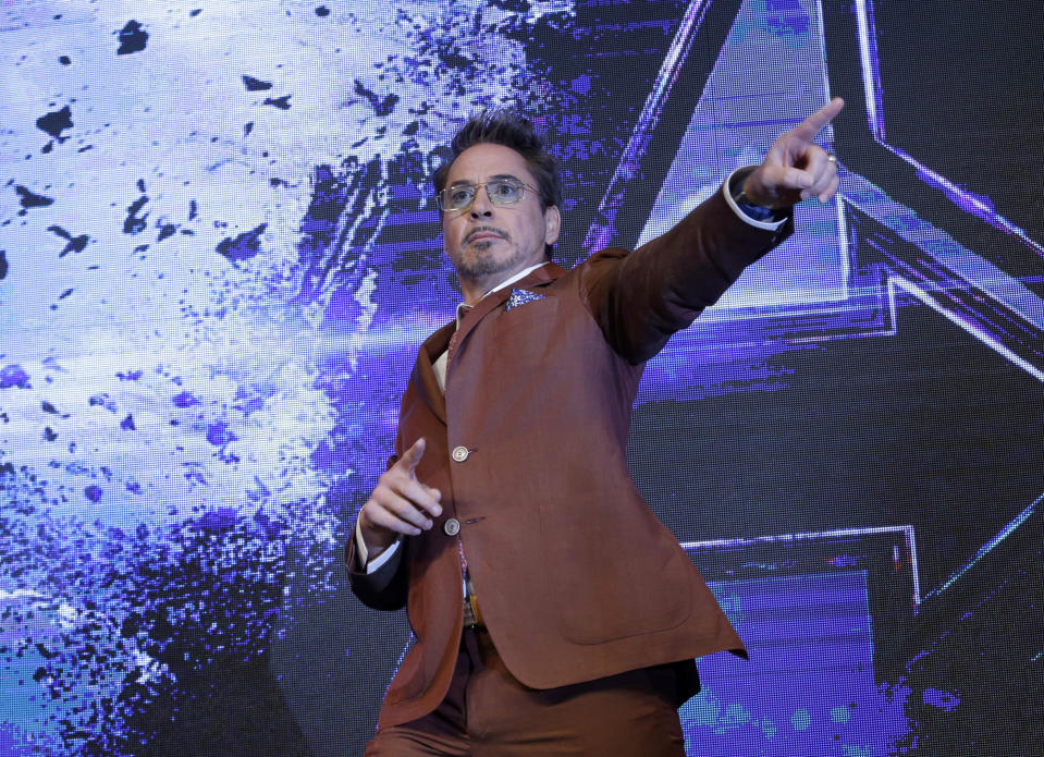 """FILE - Actor Robert Downey Jr. poses during an Asia Press Conference to promote his latest film """"Avengers Endgame"""" in Seoul, South Korea on April 15, 2019. Downey Jr. turns 56 on April 4. (AP Photo/Ahn Young-joon, File)"""