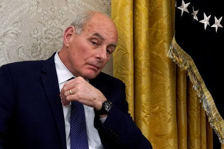 FILE PHOTO: White House chief of staff Kelly listens during Trump-Stoltenberg meeting at White House in Washington