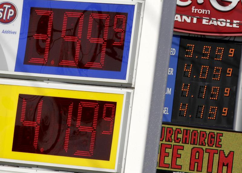 Gas prices are seen at  Marathon and GetGo gas stations in Bedford Heights, Ohio on Wednesday, March 21, 2012. (AP Photo/Amy Sancetta)