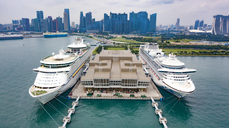 Aerial Shot of Cruise Ships at Singapore Harbour