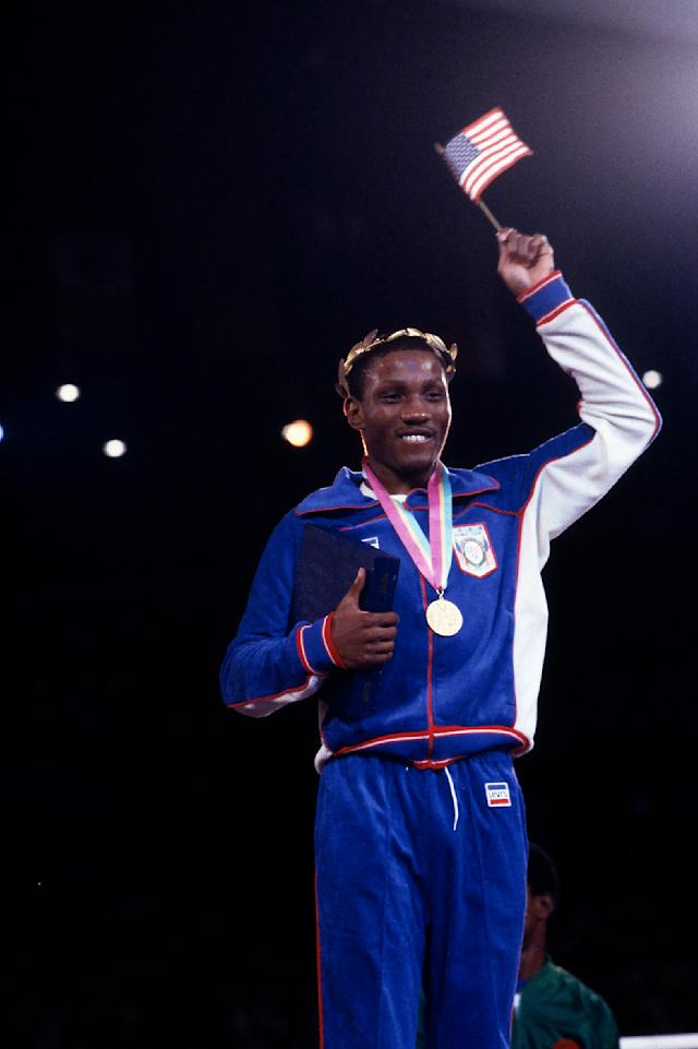 Pernell Whitaker, Men's boxing medal ceremony, Memorial Sports Arena, at the 1984 Summer Olympics. (Photo by ABC via Getty Images)