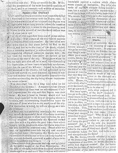 """On July 19, 1837, a New Orleans Picayune article chronicled Bras-Coupé's death. The writer referred to him as the """"Brigand of the Swamp"""" and wrote, """"The life of this Negro has been one of crime and total depravity."""""""