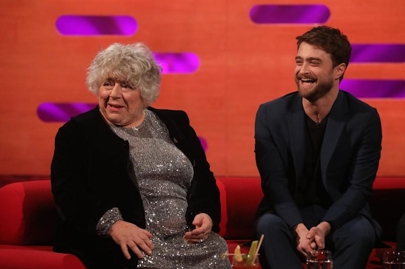 Miriam Margolyes and Daniel Radcliffe during the filming for the Graham Norton Show at BBC Studioworks 6 Television Centre, Wood Lane, London, to be aired on BBC One on Friday evening. (Photo by Isabel Infantes/PA Images via Getty Images)