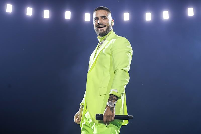 MIAMI, FL - OCTOBER 11: Maluma performs on stage during his 11:11 World Tour at AmericanAirlines Arena on October 11, 2019 in Miami, Florida. (Photo by John Parra/Getty Images)