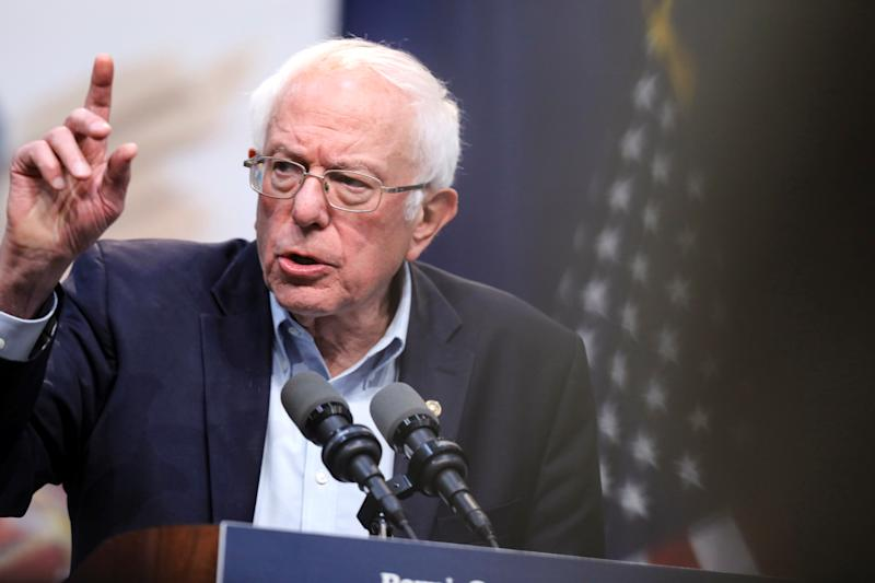 Democratic 2020 U.S. presidential candidate Senator Bernie Sanders speaks during a Climate Crisis Summit with Rep. Alexandria Ocasio-Cortez (not pictured) at Drake University in Des Moines, Iowa, U.S. November 9, 2019. REUTERS/Scott Morgan