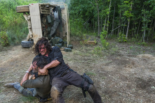 <p>Norman Reedus as Daryl Dixon, Andrew Lincoln as Rick Grimes in AMC's <i>The Walking Dead.><br> (Photo: Gene Page/AMC)</i> </p>