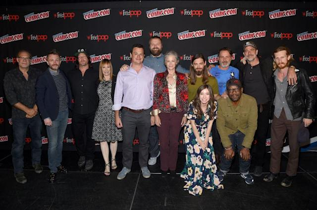 Greg Nicotero, Chris Hardwick, Norman Reedus, Gale Ann Hurd, David Alpert, Robert Kirkman, Melissa McBride, Tom Payne, Katelyn Nacon, Andrew Lincoln, Lennie James, Jeffrey Dean Morgan, and Austin Amelio attend the NYCC <i>The Walking Dead</i> panel at The Theater at Madison Square Garden on October 7, 2017 in New York City (Photo by Jamie McCarthy/Getty Images for AMC)