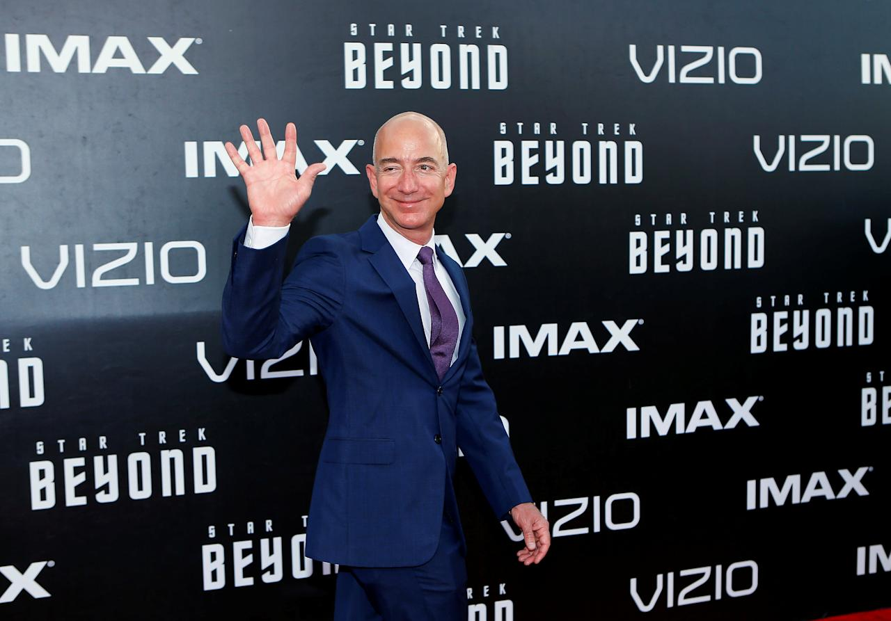 """FILE PHOTO: CEO of Amazon.com Jeff Bezos arrives for the world premiere of """"Star Trek Beyond"""" at Comic Con in San Diego, California U.S., July 20, 2016.  REUTERS/Mike Blake/File Photo"""
