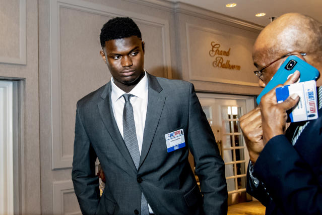 Duke forward Zion Williamson is seen prior to the 2019 NBA Draft Lottery at the Hilton Chicago. (Photo credit: USAT)