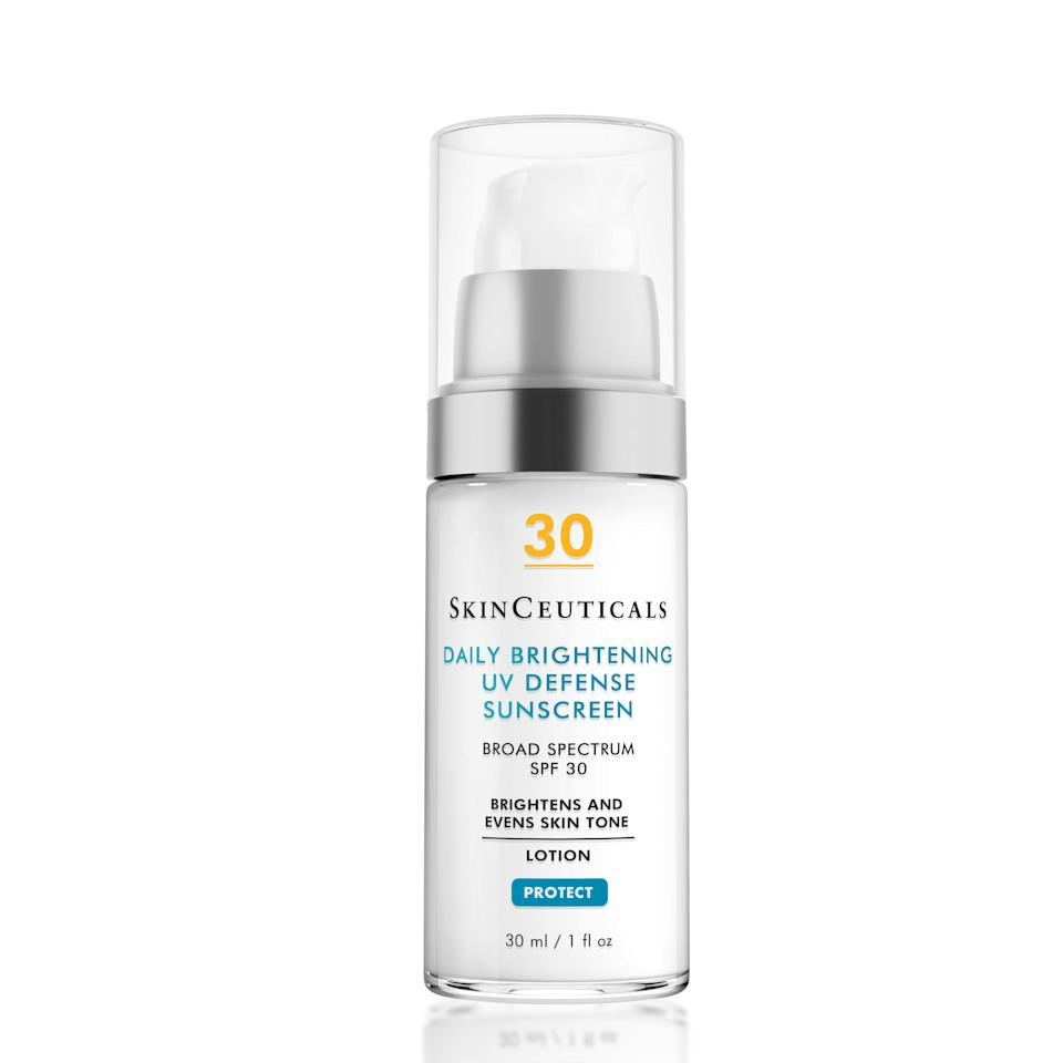 "SkinCeuticals's Daily Brightening UV Defense Sunscreen does way more than protect you from harsh UV rays with its SPF 30. The silky cream also features <a href=""https://www.allure.com/story/what-is-tranexamic-acid-dark-spot-treatment?mbid=synd_yahoo_rss"" rel=""nofollow noopener"" target=""_blank"" data-ylk=""slk:tranexamic acid"" class=""link rapid-noclick-resp"">tranexamic acid</a>, <a href=""https://www.allure.com/story/niacinamide-skin-care-redness-side-effect?mbid=synd_yahoo_rss"" rel=""nofollow noopener"" target=""_blank"" data-ylk=""slk:niacinamide"" class=""link rapid-noclick-resp"">niacinamide</a>, and <a href=""https://www.allure.com/story/what-is-glycerin-skin-care-ingredient?mbid=synd_yahoo_rss"" rel=""nofollow noopener"" target=""_blank"" data-ylk=""slk:glycerin"" class=""link rapid-noclick-resp"">glycerin</a>, which work together to reduce hyperpigmentation, calm inflammation, and give skin all-day hydration."