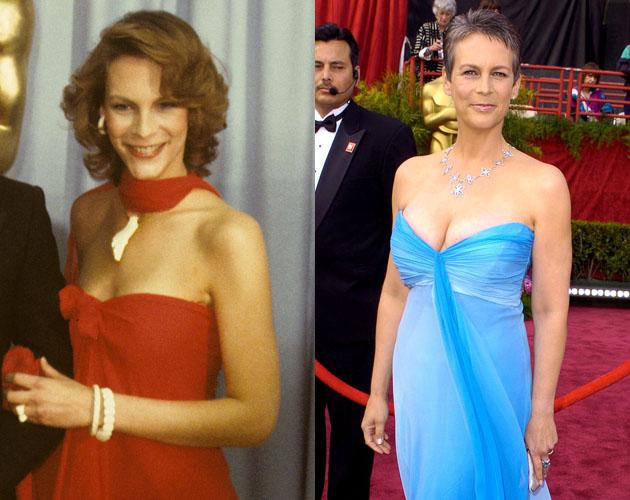 When Jamie Lee Curtis attended the 1980 Oscars she made a bold statement in an off shoulder red dress. In 2004 when she walked the Oscar red carpet again she was able to pull off the same youthful cut in a sophisticated and mature way.
