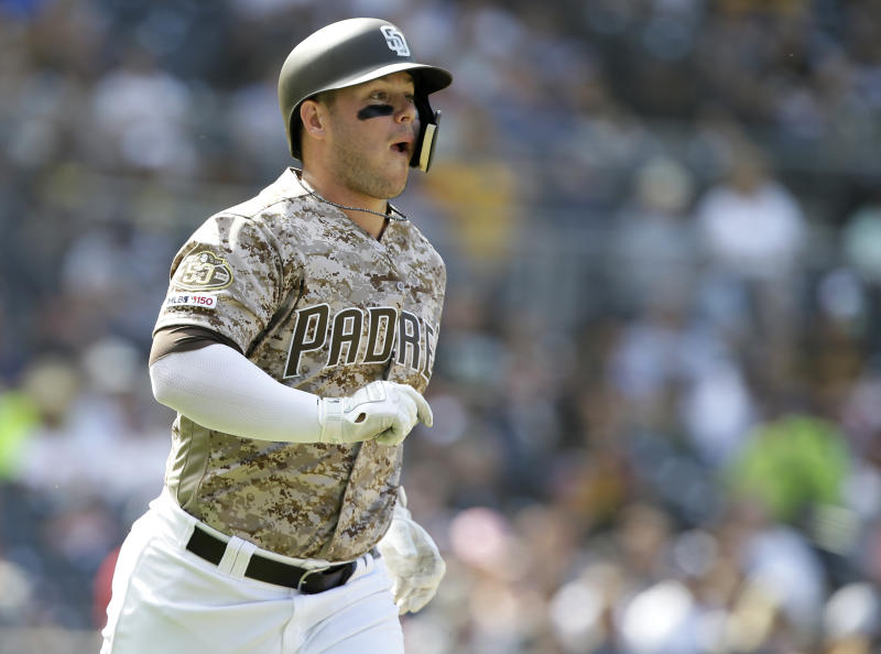 San Diego Padres' Ty France reacts after hitting a two-run home run against the Arizona Diamondbacks during the fourth inning of a baseball game in San Diego, Sunday, Sept. 22, 2019. (AP Photo/Alex Gallardo)
