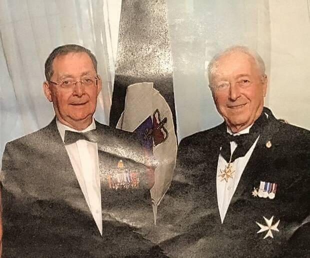 Jean-Charles Perreault (left) in an undated photo with Quebec Lt.-Gov. Michel Doyon. Perreault served as an aide-de-camp to one of Doyon's predecessors, former Quebec Lt.-Gov. Martial Asselin.