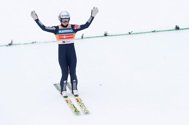 FIS Ski Jumping World Cup - Women's HS134 - Holmenkollen, Norway - March 11, 2018. Maren Lundby of Norway competes. NTB Scanpix/Terje Bendiks via REUTERS ATTENTION EDITORS - THIS IMAGE WAS PROVIDED BY A THIRD PARTY. NORWAY OUT. NO COMMERCIAL OR EDITORIAL SALES IN NORWAY.