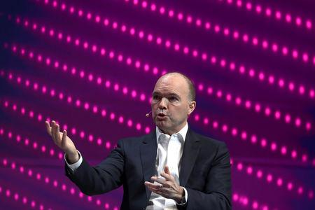 Nick Read, CEO of Vodafone, gestures as he speaks during the Mobile World Congress in Barcelona