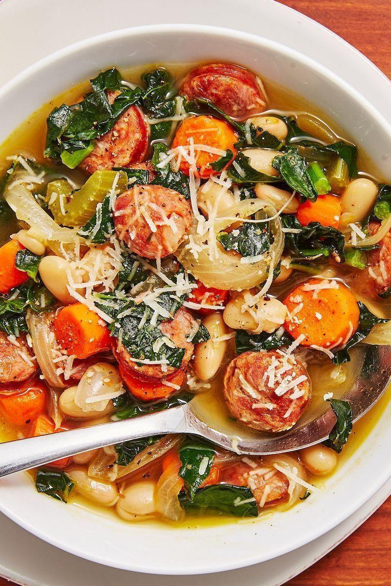 """<p>A good, hearty <a href=""""https://www.delish.com/uk/cooking/recipes/g28794441/vegetable-soup/"""" rel=""""nofollow noopener"""" target=""""_blank"""" data-ylk=""""slk:soup"""" class=""""link rapid-noclick-resp"""">soup</a> is one of our favourite ways to warm up in the colder months. And this Slow Cooker Sausage and White Bean Soup will do that perfectly.</p><p>Get the <a href=""""https://www.delish.com/uk/cooking/recipes/a29794477/slow-cooker-sausage-and-white-bean-soup-recipe/"""" rel=""""nofollow noopener"""" target=""""_blank"""" data-ylk=""""slk:Slow Cooker Sausage and White Bean Soup"""" class=""""link rapid-noclick-resp"""">Slow Cooker Sausage and White Bean Soup</a> recipe.</p>"""