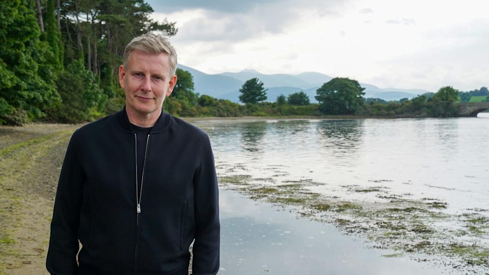 Programme Name: Patrick Kielty: One Hundred Years of Union - TX: 16/09/2021 - Episode: Patrick Kielty: One Hundred Years of Union (No. n/a) - Picture Shows: Dundrum, County Down Patrick Kielty - (C) Dragonfly TV - Photographer: Seamus McCracken
