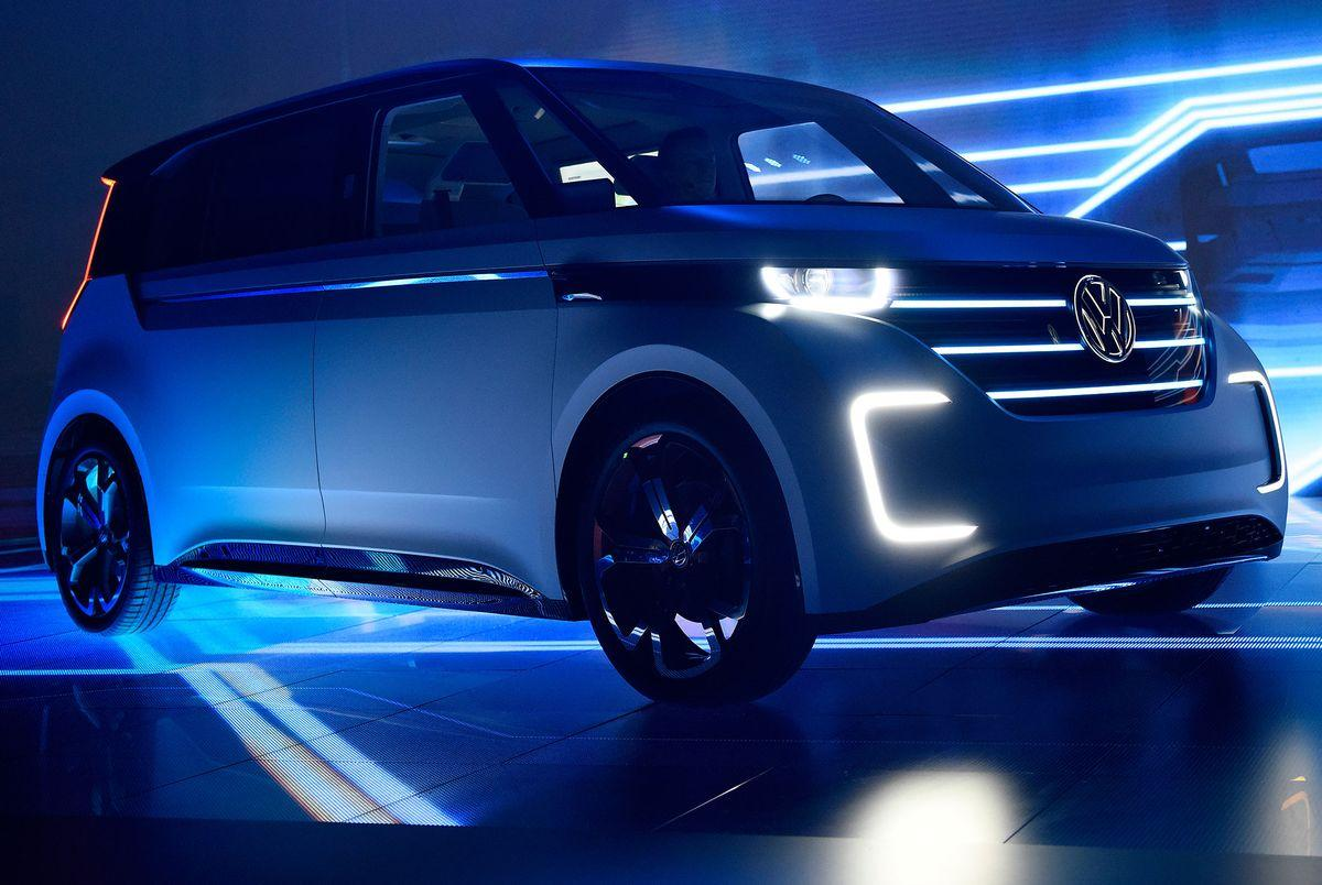 The Volkswagen AG BUDD-e concept long-distance electric vehicle (EV) sits on display during an unveiling event at the 2016 Consumer Electronics Show (CES) in Las Vegas, Nevada, U.S., on Tuesday, Jan. 5, 2016. Volkswagen is using this weeks CES to hark back to happier times as the scandal-burdened German carmaker presents an emissions-free concept model reminiscent of its iconic, hippie-era Microbus. Photographer: David Paul Morris/Bloomberg via Getty Images