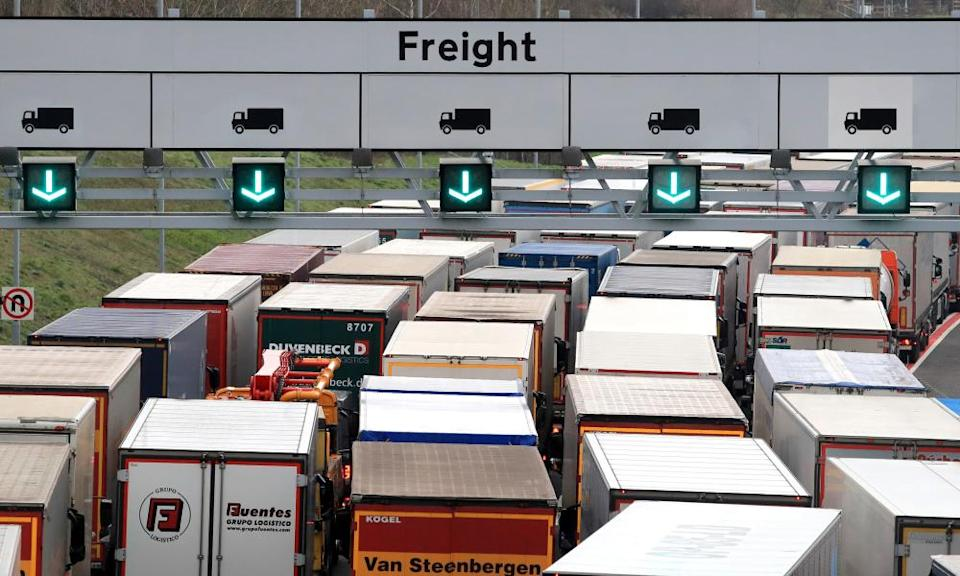 Freight lorries forced to queue after French started dry run Brexit checks in Calais.