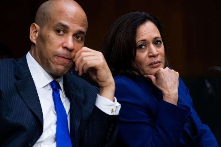 """Senators Cory Booker, D-N.J., and Kamala Harris, D-Calif., attend the Senate Judiciary Committee hearing titled """"Police Use of Force and Community Relations"""", in Dirksen Senate Office Building in Washington, DC, on Tuesday, June 16, 2020. (Tom Williams/AFP via Getty Images)"""