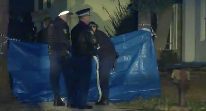 Police on the scene in Sydney's west. Source: 7News