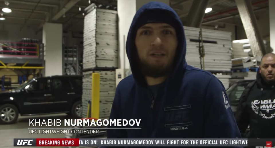 Khabib Nurmagomedov called out McGregor shortly after the Irishman attacked the bus he was sitting on with several other fighters. (UFC.tv screen shot)