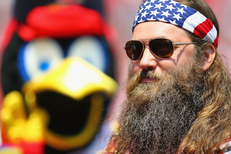 """ST. LOUIS, MO - JULY 7: Willie Robertson of the television show """"Duck Dynasty' waits to throw out the first pitch prior a game between the St. Louis Cardinals and the Miami Marlins at Busch Stadium on July 7, 2013 in St. Louis, Missouri. The Cardinals beat the Marlins 3-2. (Photo by Dilip Vishwanat/Getty Images)"""