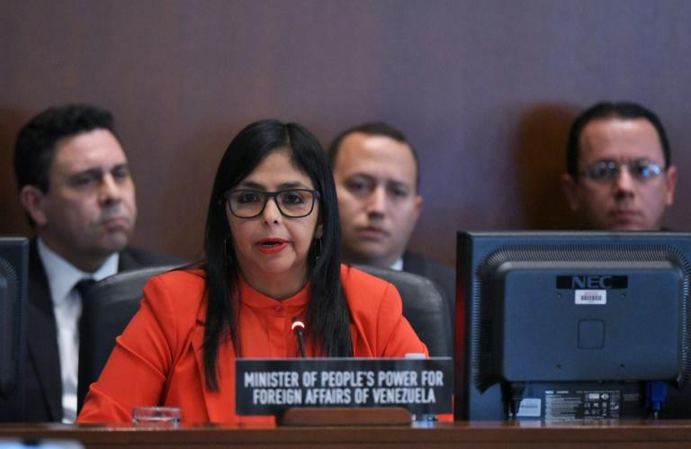 Venezuela's Foreign Minister Delcy Rodríguez addresses the Organization of American States (OAS) meeting in Washington, DC, on March 27, 2017