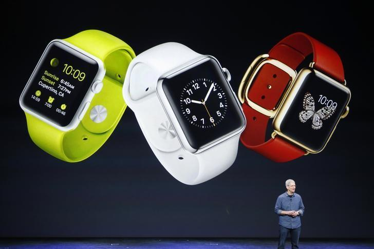 Apple CEO Tim Cook speaks about the Apple Watch during an Apple event at the Flint Center in Cupertino