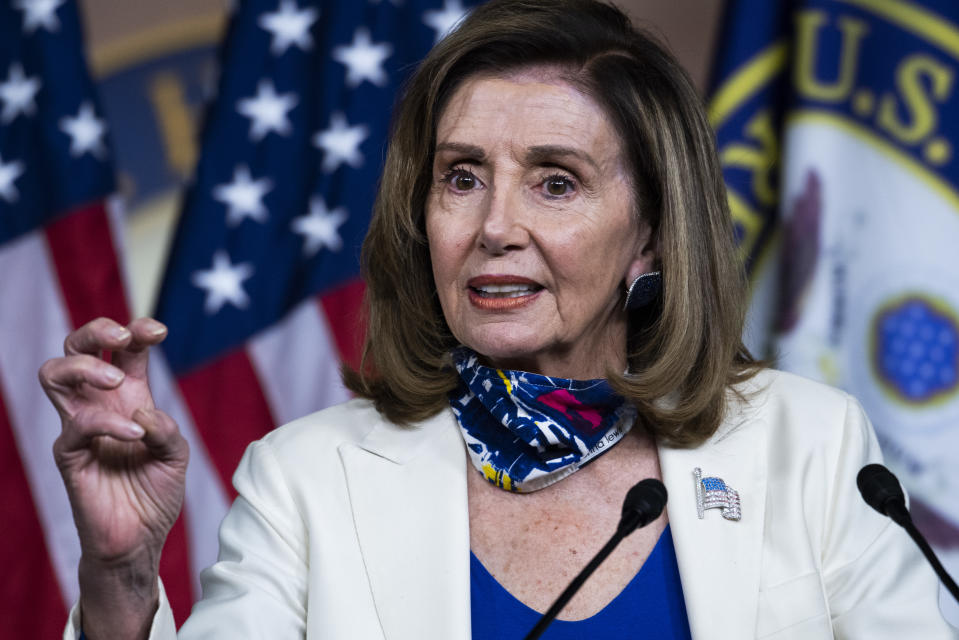UNITED STATES - OCTOBER 01: Speaker Nancy Pelosi, D-Calif., conducts her weekly news conference in the Capitol Visitor Center on Thursday, October 1, 2020. (Photo By Tom Williams/CQ-Roll Call, Inc via Getty Images)