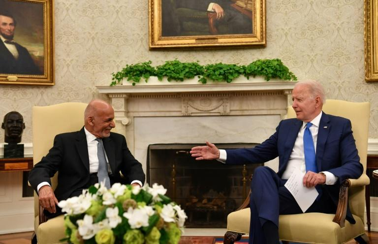 President of Afghanistan Ashraf Ghani meets with US President Joe Biden at the White House in June