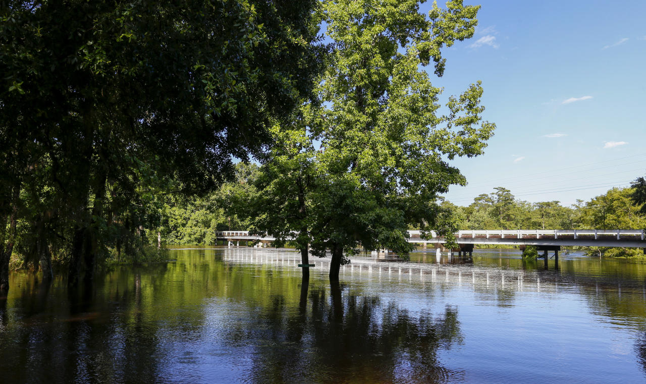 CORRECTS STATE FROM ALABAMA TO MISSISSIPPI -The Pascagoula River spills over its banks as tropical storm Cindy dropped heavy rain in the area, Saturday, June 24, 2017, in Merrill, Miss. (AP Photo/Butch Dill)
