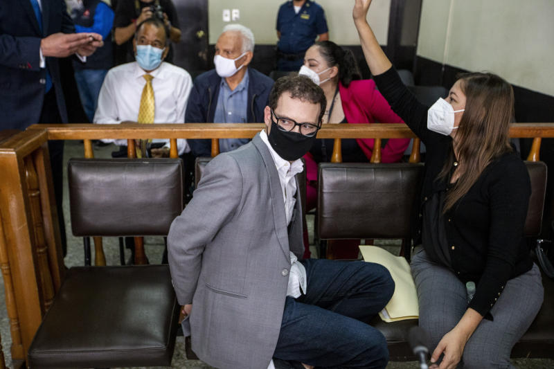 The son of former Panamanian President Ricardo Martinelli, Luis Enrique Martinelli Linares, waits during a hearing at the judicial court building in Guatemala City, Tuesday, July 7, 2020. Luis Enrique and his brother Ricardo were detained Monday on an international warrant from Interpol on charges of conspiracy to commit money laundering. (AP Photo/Moises Castillo)