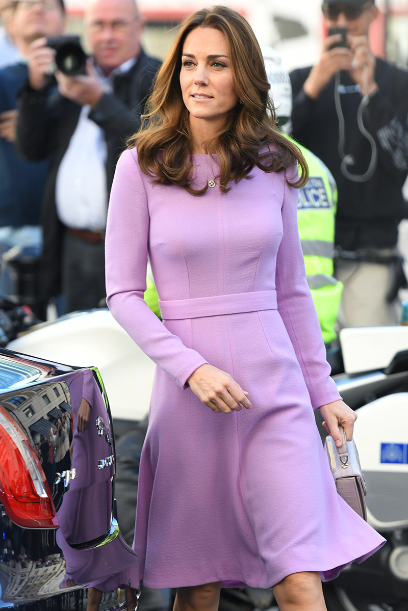 <p>Kate was spotted wearing a near-identical coloured lavender dress at the Global Ministerial Mental Health Summit in October 2018, complete with a matching panel mimicking Di's belt.</p>