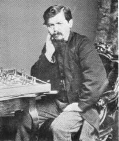 "<span class=""caption"">Steinitz wrote in 1889 that the player with the white pieces should move first.</span> <span class=""attribution""><a class=""link rapid-noclick-resp"" href=""https://commons.wikimedia.org/w/index.php?search=Wilhelm+Steinitz&title=Special:Search&go=Go&ns0=1&ns6=1&ns12=1&ns14=1&ns100=1&ns106=1&searchToken=4kqfsu61t6ti4y6bxz5qs0a8m#%2Fmedia%2FFile%3ASteinitz1866.jpg"" rel=""nofollow noopener"" target=""_blank"" data-ylk=""slk:www.wikicommons.com"">www.wikicommons.com</a>, <a class=""link rapid-noclick-resp"" href=""http://artlibre.org/licence/lal/en"" rel=""nofollow noopener"" target=""_blank"" data-ylk=""slk:FAL"">FAL</a></span>"