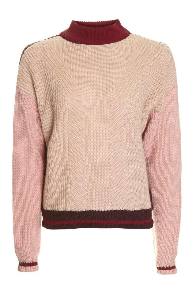 """<p><a href=""""http://www.topshop.com/en/tsuk/product/new-in-this-week-2169932/new-in-this-week-493/petite-colour-block-jumper-5930346?bi=20&ps=20"""">Topshop</a>, £46</p>"""