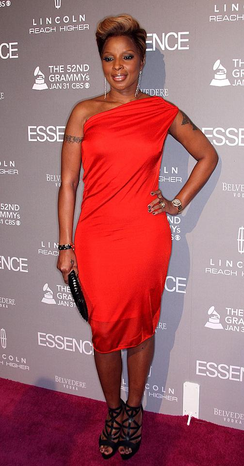 """Queen of Hip-Hop Soul Mary J. Blige popped a pose in a one-shoulder sheath and gladiator heels upon arriving the Essence Black Women in Music gala, which was held to honor her career and accomplishments. Frederick M. Brown/<a href=""""http://www.gettyimages.com/"""" target=""""new"""">GettyImages.com</a> - January 27, 2010"""