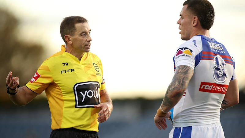 Referee Ben Cummins, pictured here during the Newcastle-Penrith game.