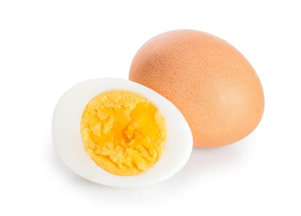 """<p>Hard-boiled eggs are a simple and satisfying snack. To amp up the keto benefits, you'll want to add some fat to it, suggests Potter. Think: A slather of mayonnaise or slice of cheese. Another tasty, high-fat option would be to whip up some <a href=""""https://www.prevention.com/food-nutrition/recipes/a35812683/deviled-eggs-with-pickled-shallots-recipe/"""" rel=""""nofollow noopener"""" target=""""_blank"""" data-ylk=""""slk:deviled eggs"""" class=""""link rapid-noclick-resp"""">deviled eggs</a>.</p>"""
