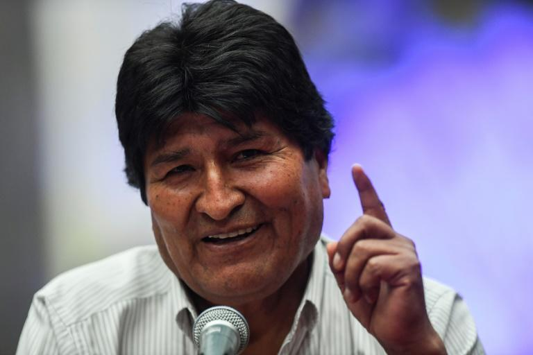 Bolivian ex-President Evo Morales speaks during a press conference at the Museum of the City of Mexico on November 13, 2019