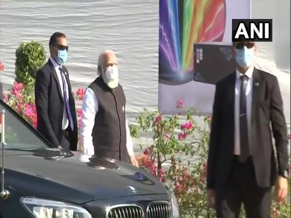 Prime Minister Narendra Modi on Saturday arrived at the Zydus Biotech Park in Ahmedabad.