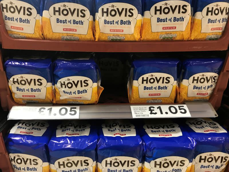FILE PHOTO: Loaves of Hovis bread are pictured on the shelves of a supermarket in Manchester