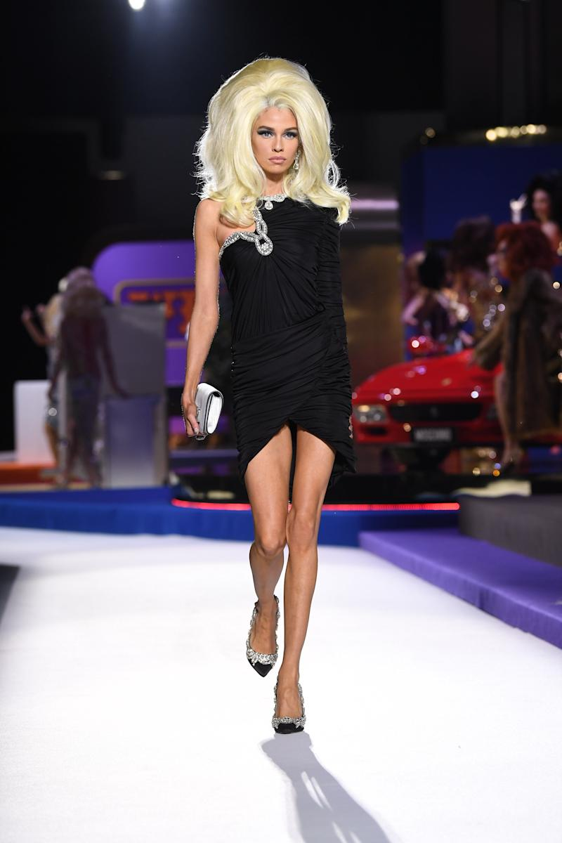 Stella Maxwell took a break from Victoria's Secret to team up with Jeremy Scott not once, but twice—first at his eponymous label's fall/winter 2019 show during New York, and again at Moschino's fall/winter 2019 show during Milan Fashion Week in February 2019.